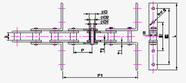 Cadenas transportadoras de rodillos Diagrama